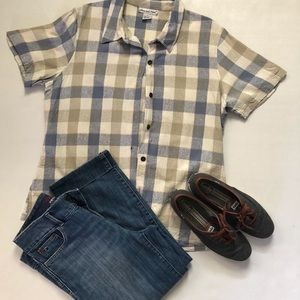 Anna and Frank 100% Silk Grey Plaid Camp Shirt